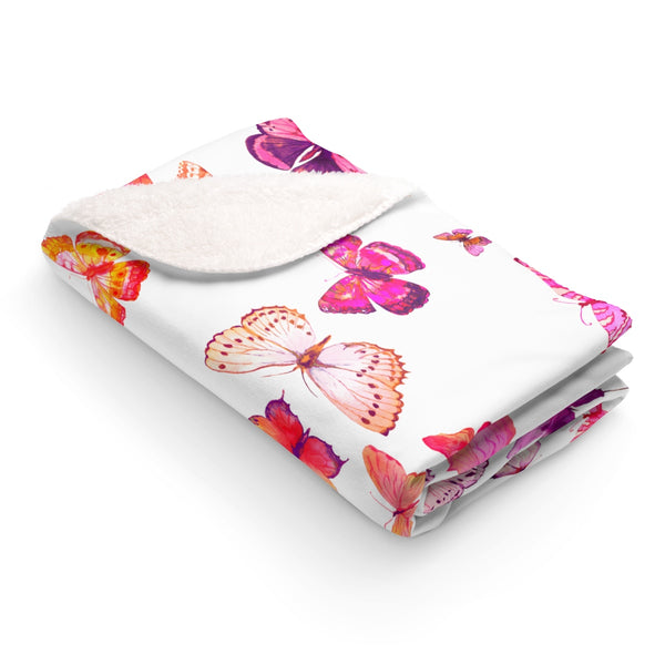 NEW GIRL PINK BUTTERFLIES SHERPA FLEECE BLANKET
