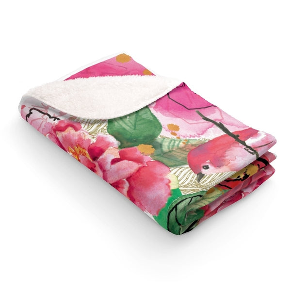 Pink Flower Birds Sherpa Fleece Blanket