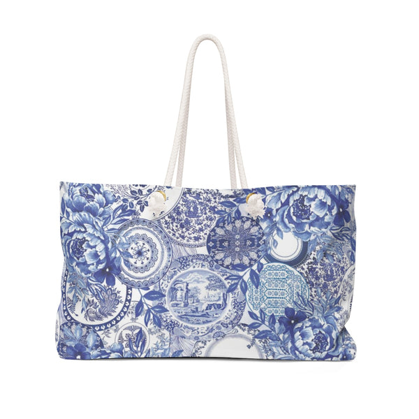 Blue & White Plates Weekender Tote