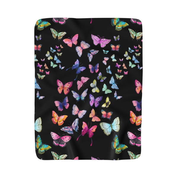 Butterfly Swarm Black Sherpa Fleece Blanket