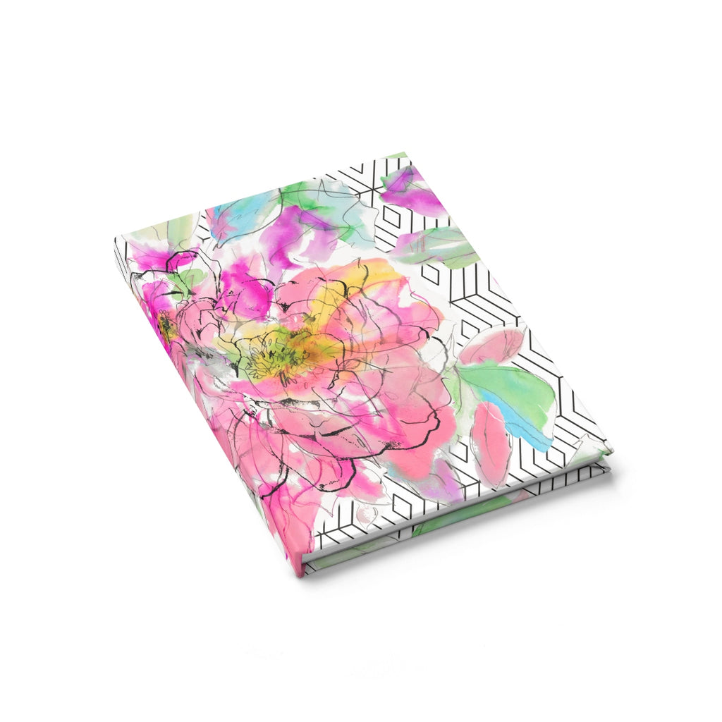 Geo Watercolor Peony Journal - Ruled Line