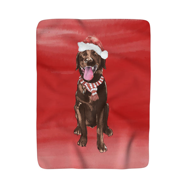 Brown Christmas Lab Fleece Sherpa Blanket