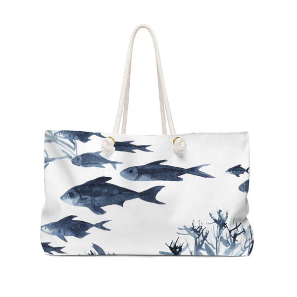 Blue Fish Coral Watercolor Weekender Tote