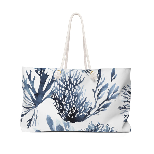 Blue Coral Watercolor Weekender Tote