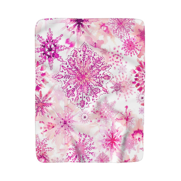 Watercolor Pink Snowflakes Fleece Sherpa Blanket