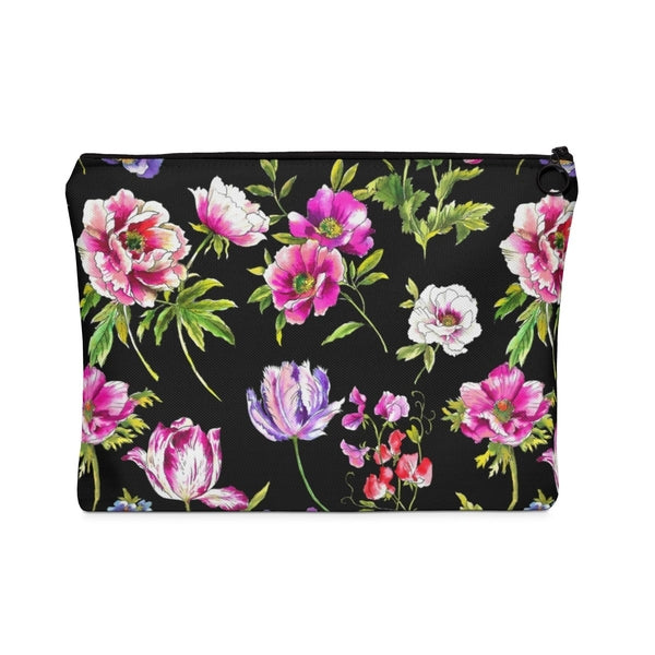 Black Floral Frenzy Carry All Pouch