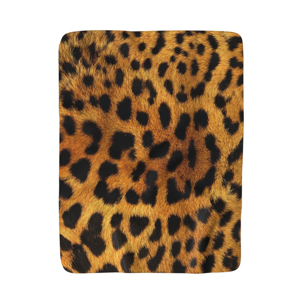 Cheetah Fur Fleece Sherpa Blanket
