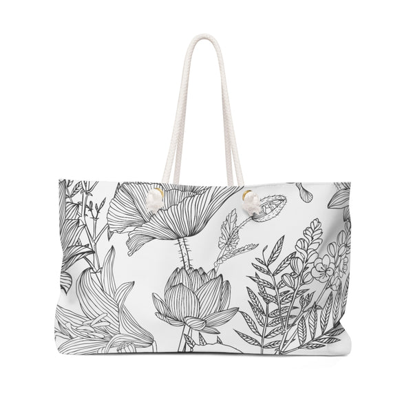 Black & White Outline Floral Weekender Tote
