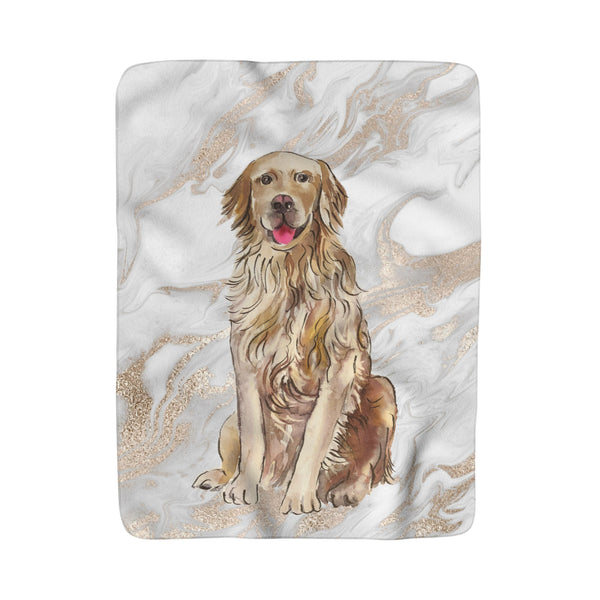 PREPPY POOCH MARBLE DESIGNED FLEECE SHERPA BLANKET: MULTIPLE BREEDS!