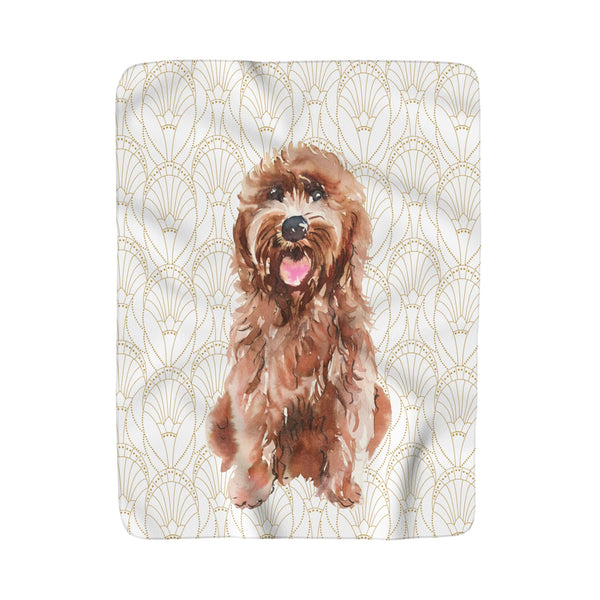 PREPPY POOCH GOLD ART DECO FLEECE SHERPA BLANKET: MULTIPLE BREEDS!