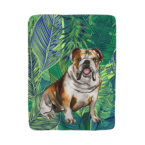 PREPPY POOCH PALM LEAF DREAMS FLEECE SHERPA BLANKET