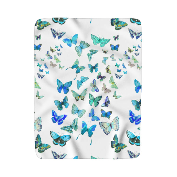 Blue Butterflies Sherpa Fleece Blanket
