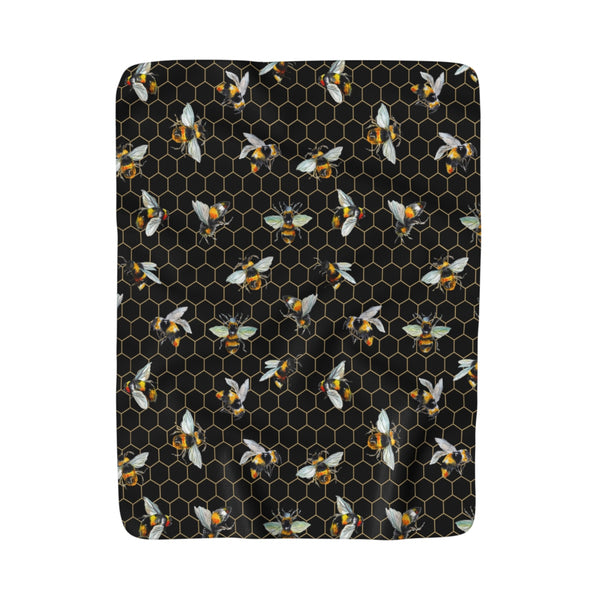 You're The Bees Knees Black Fleece Sherpa Blanket