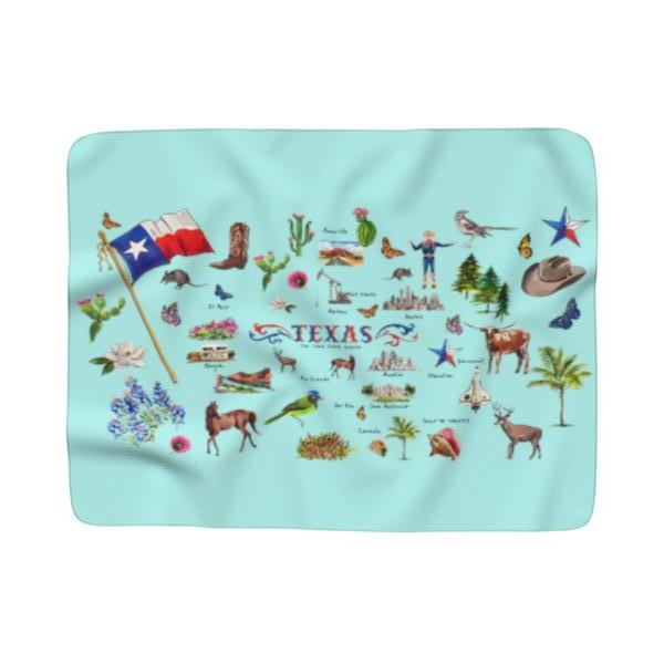 TEXAS MOTIF AQUA Sherpa Fleece Blanket
