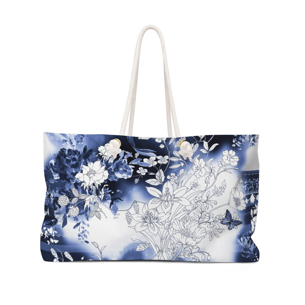 Blue & White Flower Koi Weekender Tote