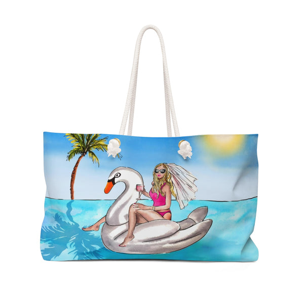 BRIDE SWAN FLOATY TANK BIKINI-BACHELORETTE PARTY WEEKENDER TOTE