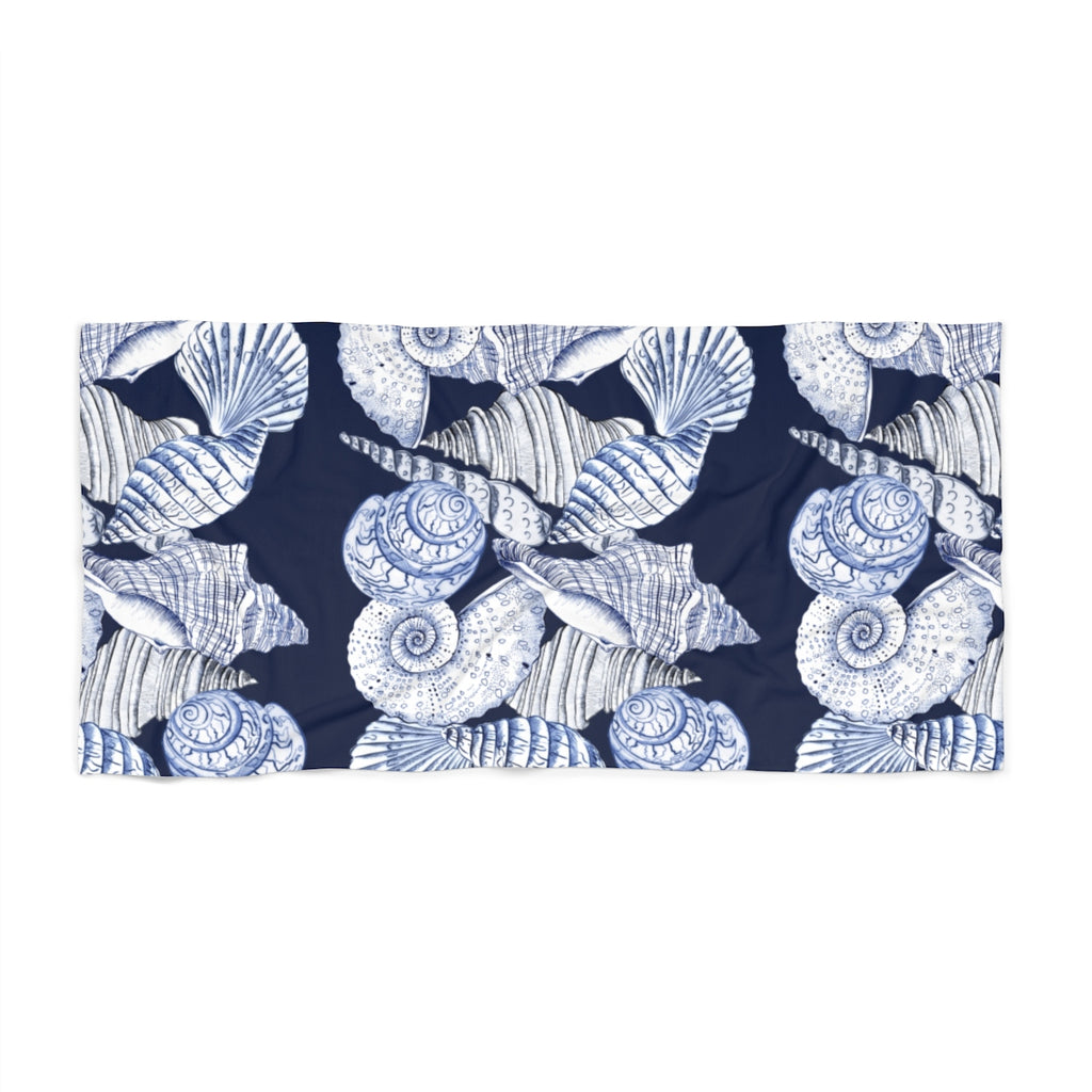 BLUE SEASHELLS NAVY Beach Towel