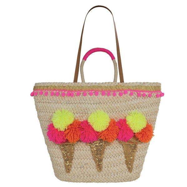 Ice Cream Cone Straw Tote
