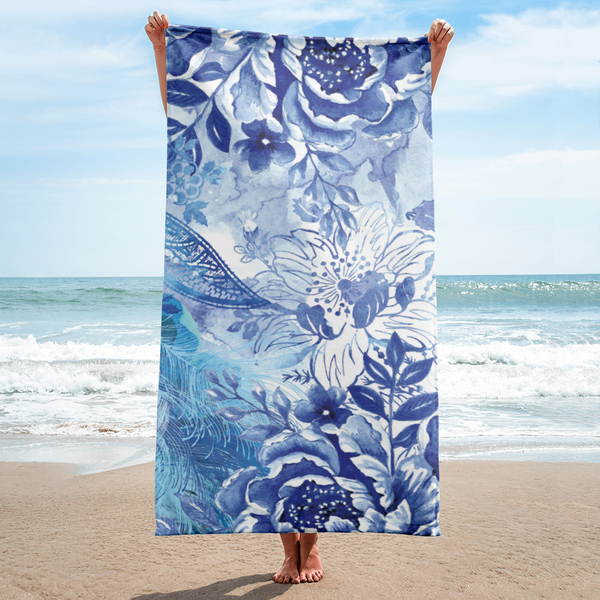 Blue + White Flowers Towel