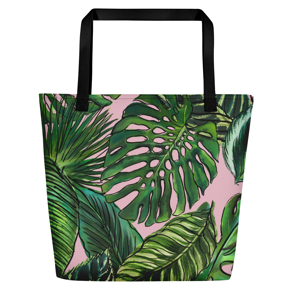 Palm Leaf Blush Beach Bag