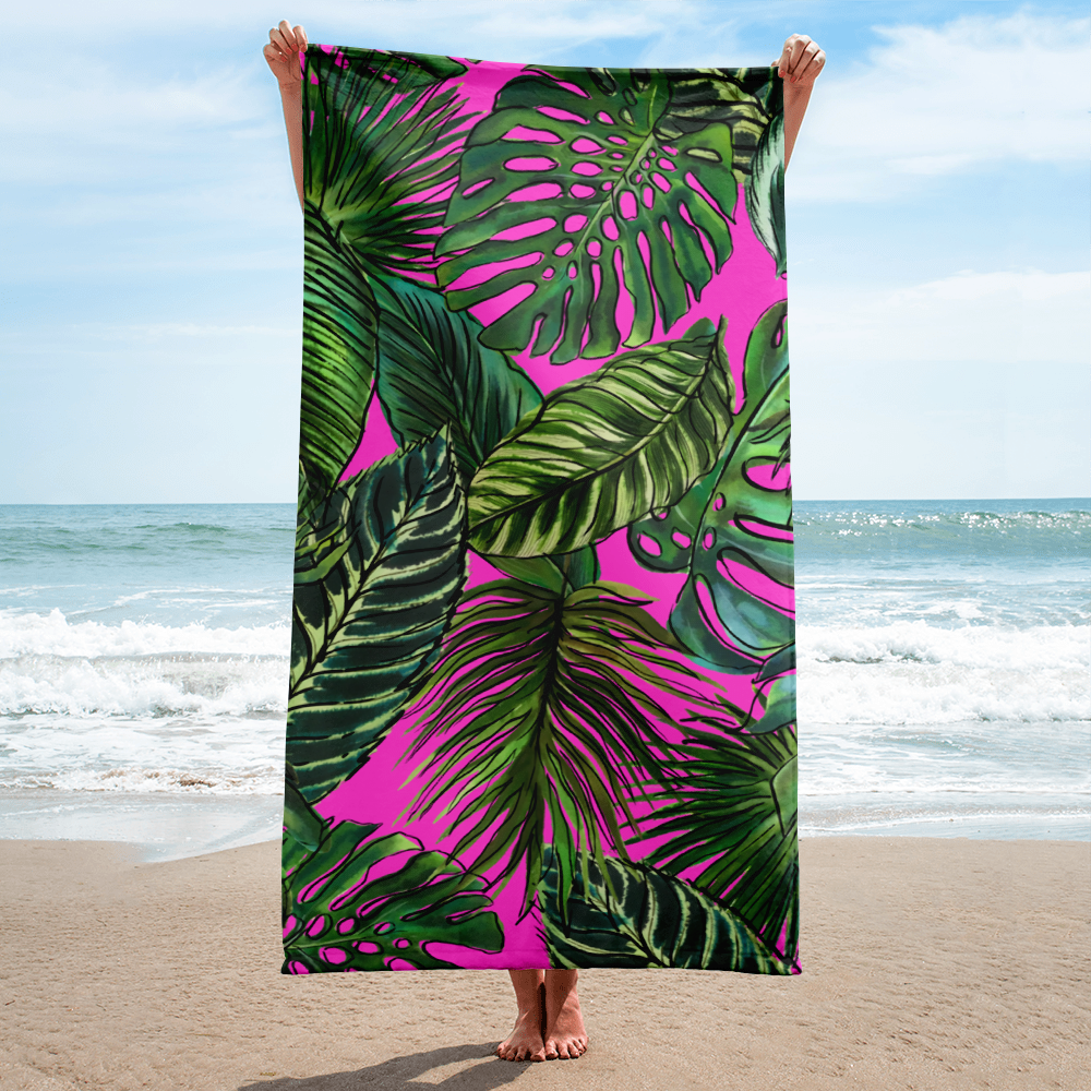 Palm Leaf Fuchsia Towel