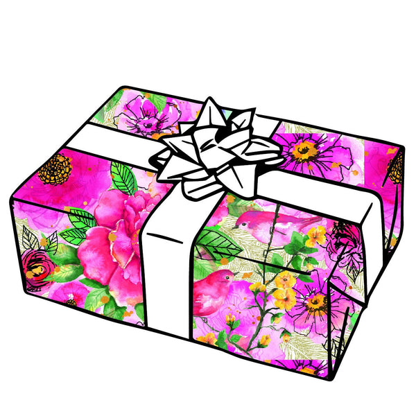 Pink Flower Birds Gift Wrap