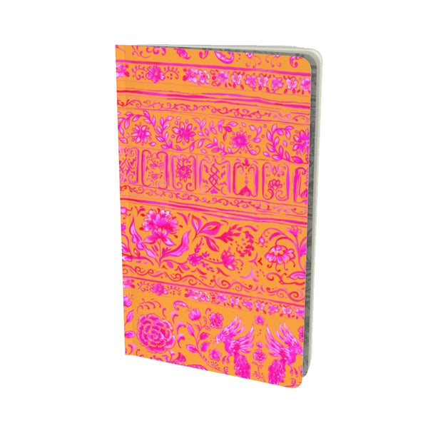 FUCHSIA + ORANGE CHINOIS VELVET MATTE FINISH LINED NOTEBOOK