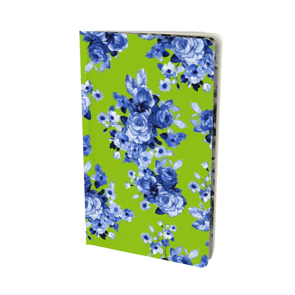 GREEN + BLUE GARDEN ROSES VELVET MATTE FINISH LINED NOTEBOOK