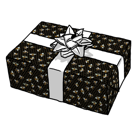 BUMBLEBEE HEXAGON BLACK GIFT WRAP