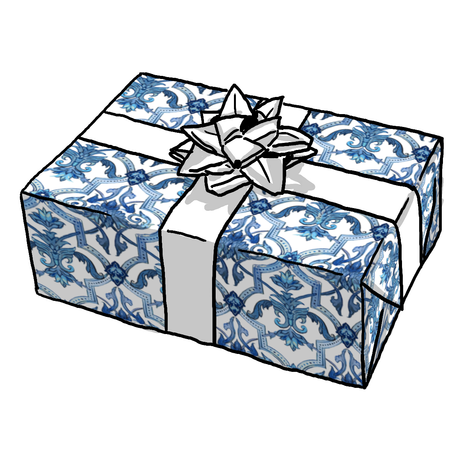 Blue & White Tile Gift Wrap