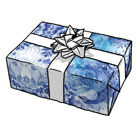 Blue + White Peacock Floral Gift Wrap