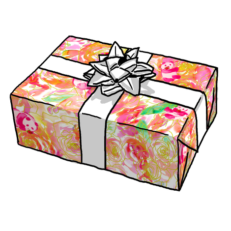 PANDA ORANGE /PEACH GIFT WRAP