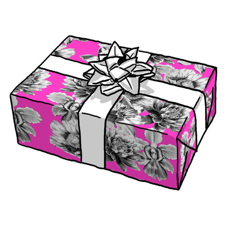 Hot Pink Etched Flowers Gift Wrap