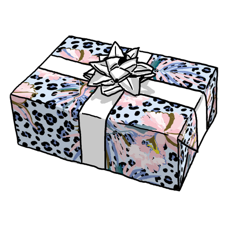 Blue Leopard Hibiscus Gift Wrap