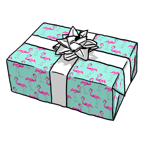 Aqua Flamingos Gift Wrap
