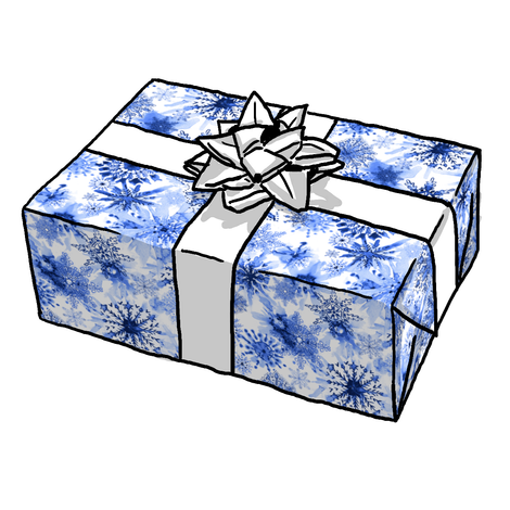 WATERCOLOR BLUE & WHITE SNOWFLAKES GIFT WRAP