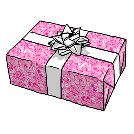 Pink Foxy Flowers Gift Wrap