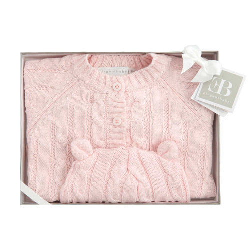 Boxed Cable Sweater & Hat Pink