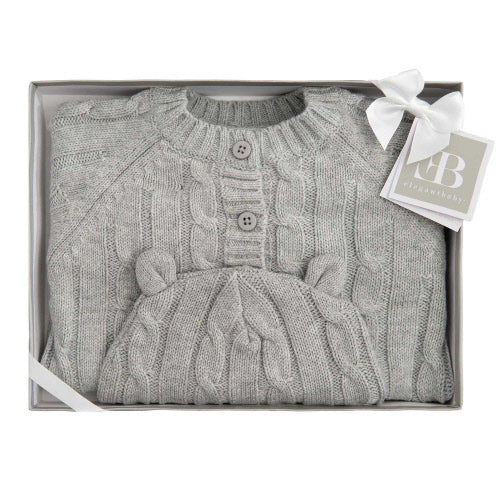 Boxed Cable Sweater & Hat Gray