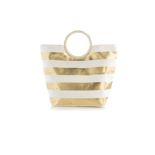 Gold Stripe Metallic Tote