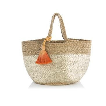 SHANTI MINI TOTE GOLD WITH ORANGE TASSEL