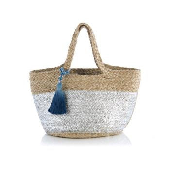 Shanti Mini Tote Silver with Blue Tassel