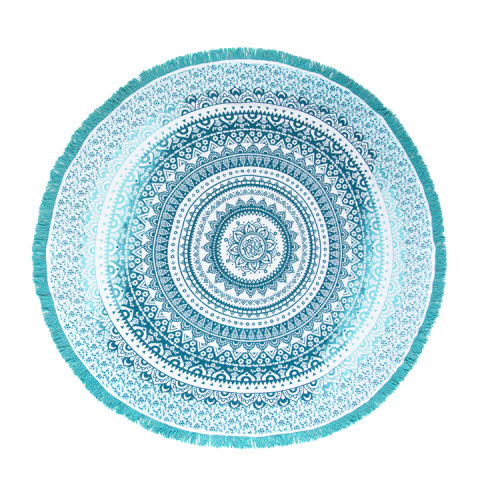 VEDA LARGE ROUND BEACH BLANKET TURQUOISE