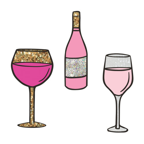 Sequin Patches Wine Glasses & Bottle