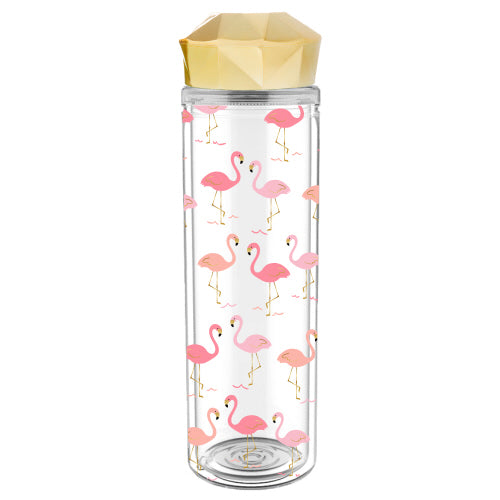 Flamingo Double Wall Faceted Lid Water Bottle