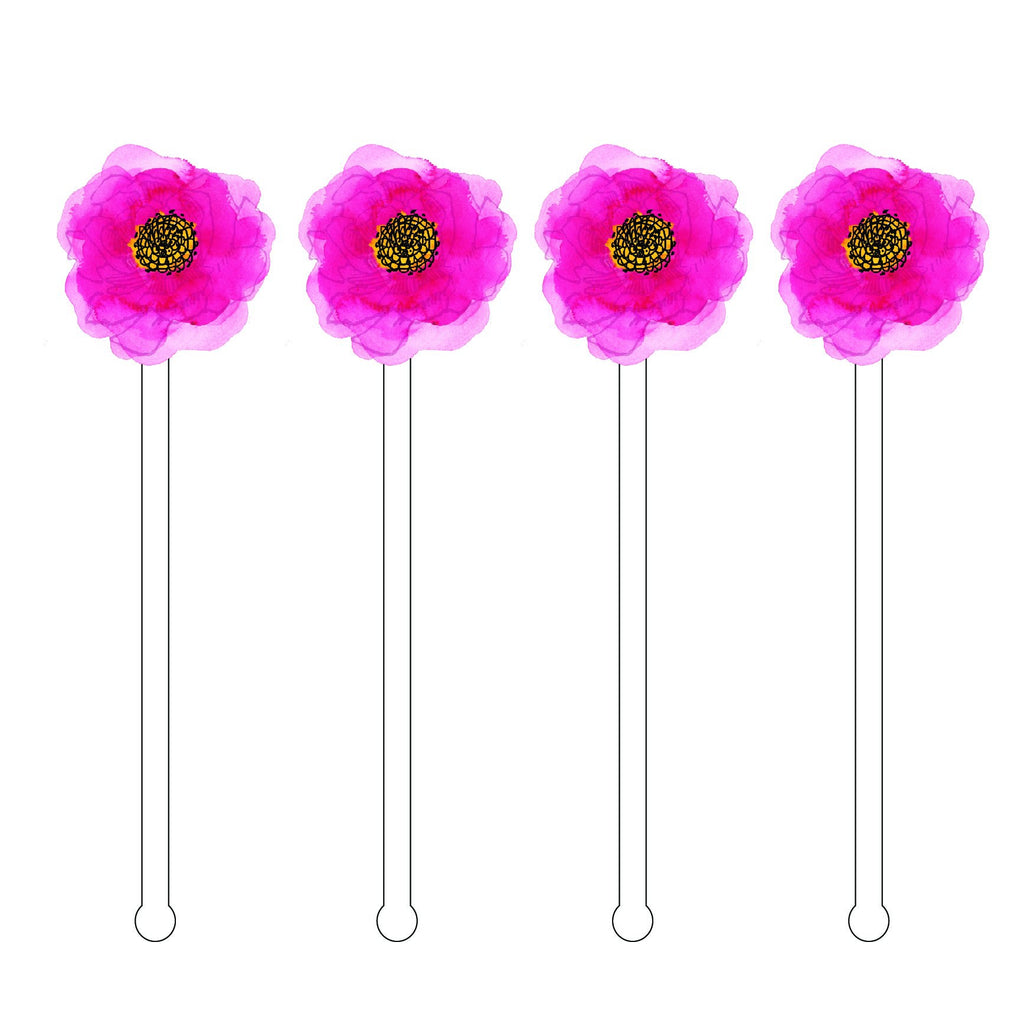 Pink 2D Flower Acrylic Stir Sticks