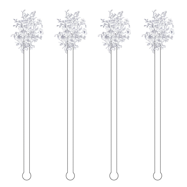 Blue Flowers Spoon Acrylic Stir Sticks