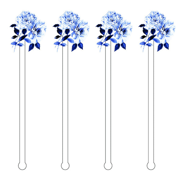 BLUE + WHITE ANEMONES ACRYLIC STIR STICKS