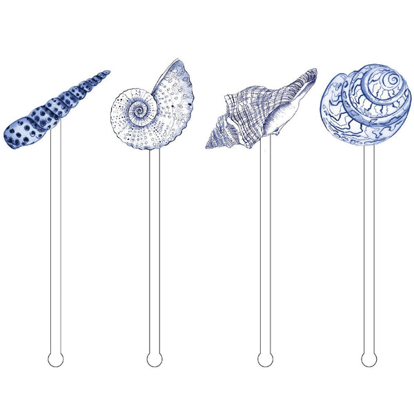 Blue Seashells Acrylic Stir Sticks