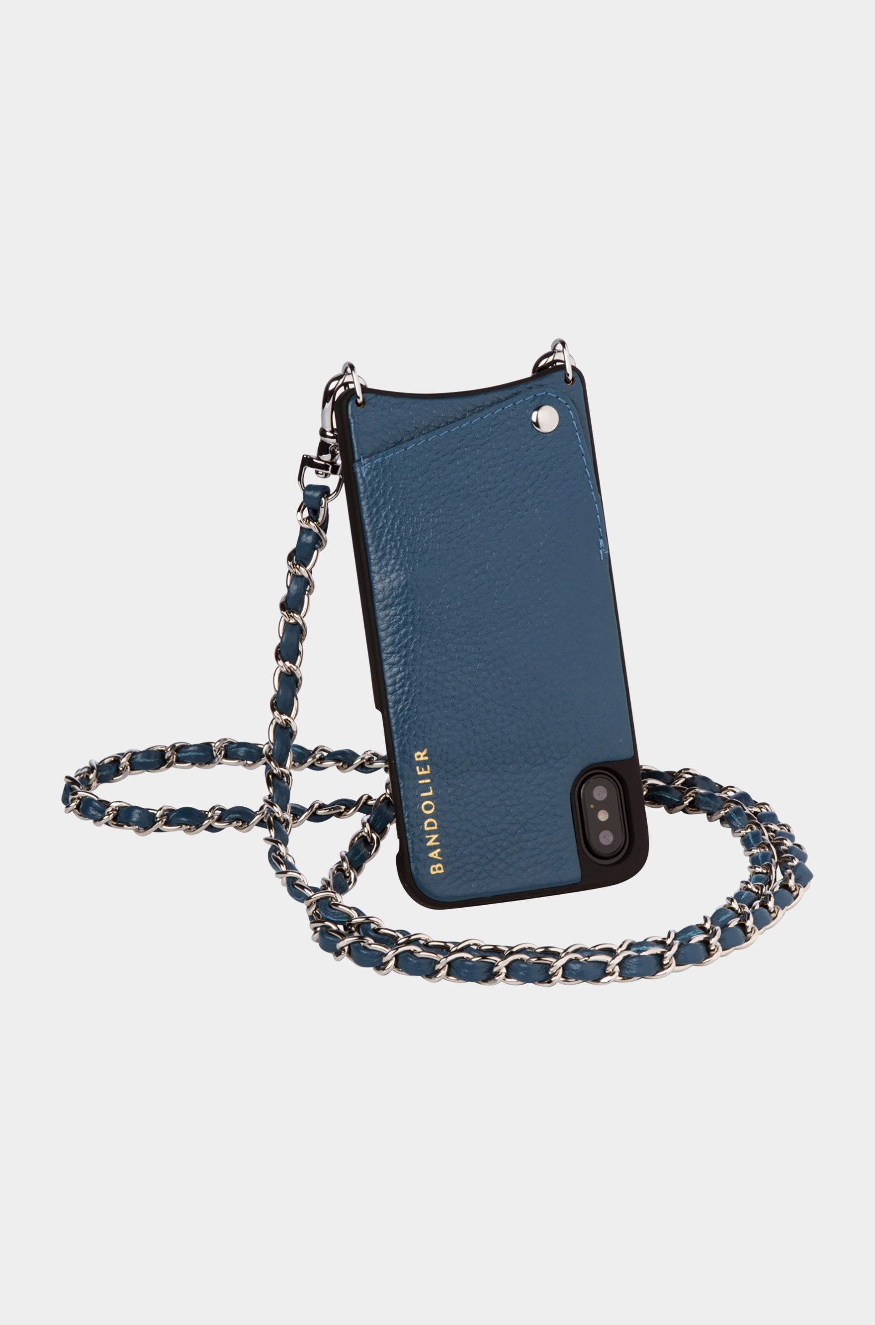 Bandolier Leather Crossbody Phone Case for iPhone - Lucy Sapphire/Silver